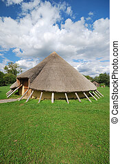 stone age home - stone age house in portrait