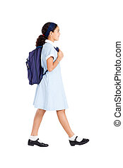 schoolgirl carrying schoolbag - primary schoolgirl with...