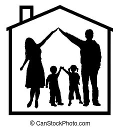 Family - family in dream house isolated on white