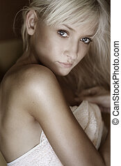 bright picture of lovely woman in towel