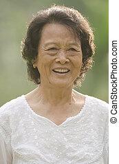 senior asian woman outdoor