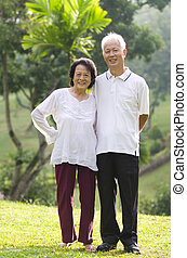 asian senior citizen on an outdoor