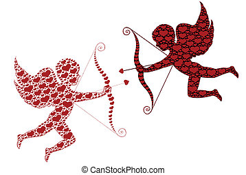Cupid - Red and black cupid isolated on white