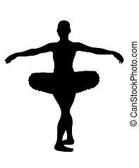 Ballerina - ballerina silhouette isolated on white...