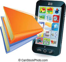 Smartphone book conceptual illustration