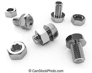 Nuts and bolts - 3d illustration of nuts and bolts isolated...