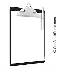 Clipboard - 3d renderof clipboard with blank paper and pen...