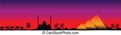 Sunset in Egypt, panorama - Sunset in Egypt with mosque,...