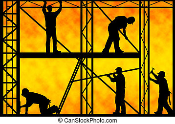 Construction workers - construction workers with orange...