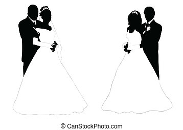Wedding couple - wedding couple silhouette isolated on white