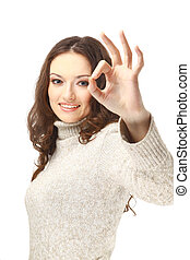 Beautiful young woman indicating ok sign, isolated on white.