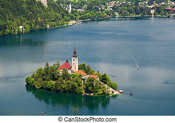 Lake Bled, Slovenia - View of St. Mary´s Church of the...