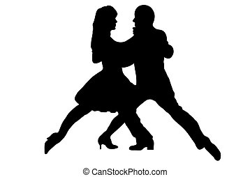Dance - Black tango dance couple silhouette