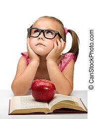 poco, niña, Sentado, aburrido, libro
