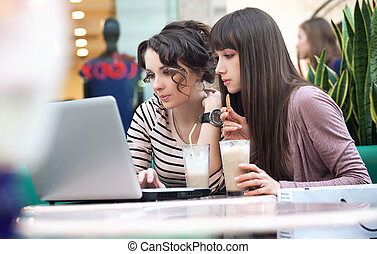 Two young girls watching something on notebook