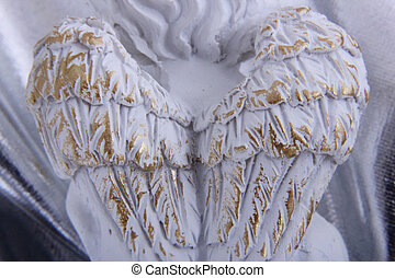 angel wings - A white angel wings on silver background