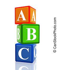 abc color cubes heap - 3d colorful cubes with letters abc...