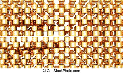 Cubes with US dollar symbol falling - Golden cubes with US...