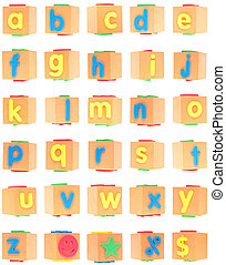 Alphabet Set on Foam Blocks Isolated on White with a...