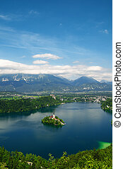 Lake Bled, Slovenia - Panoramic View of St. Mary´s Church of...