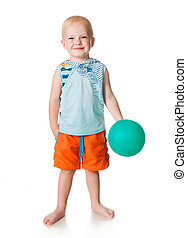 little boy with a balloon on a white background