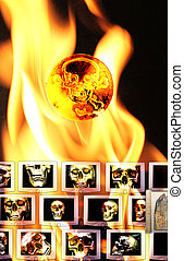 Monitors with black skulls in flames