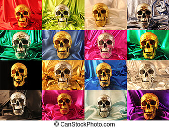 skulls - Skulls made of gold and silver on colored...