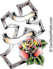 tribal cross with rose
