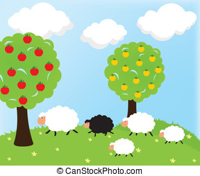 Sheep and apple tree - Sheep and nature