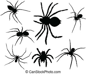 Spiders silhouettes collection - vector