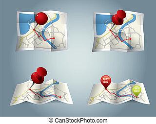 ciudad, mapa, GPS, iconos, ruta