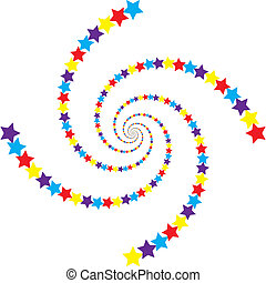 Spiral of stars with joy
