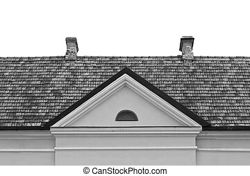 Tiled roof with chimney and dormer window
