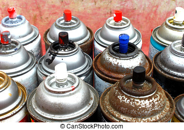 Spray Cans - Old rusty spray cans