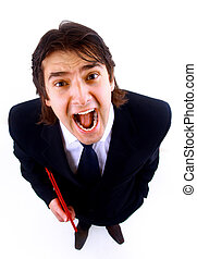 Excited mature business man screaming in victory on white background