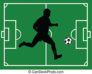 Soccer Player - Silhouette of a soccer player with field in...