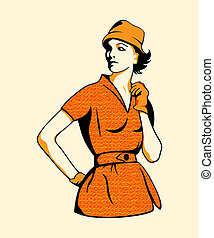 Retro fashion girl in three color print halftone pattern