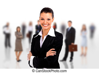 business woman leading her team isolated over a white...