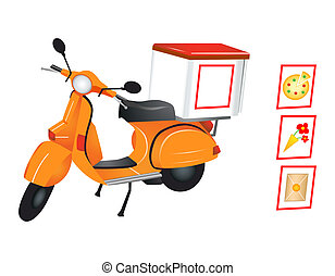 Delivery scooter for pizza, flowers and parcel in editable...
