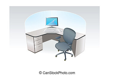 Office place - Typical one person working place cubicle