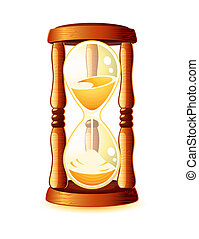 Hour-glass - Classic old wooden hour-glass or sand-glass