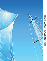 Sailing tackle - Sailing ship sails, masts and gunter at...