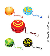 Yo-yo - Colorful yo-yo with custom designs isolated