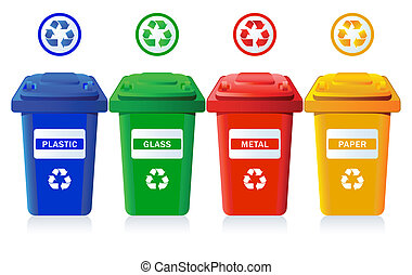 Recycling bins - Big containers for recycling waste sorting...