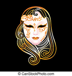 Golden mask - Venetian female carnival golden mask isolated...