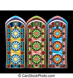Stained glass windows in three color schemes