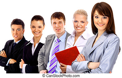 businesswoman and his team isolated over a white background...