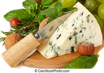Blue cheese - Delicious blue cheese with knife, nuts and...