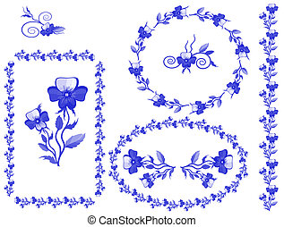 Decor with pansies, vector,