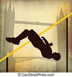 London 2012, High Jump and Tower Bridge, Vector Background